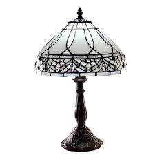 warehouse of tiffany white jewels 19 in bronze stained glass table lamp