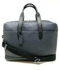 coach men s leather hamilton briefcase cross laptop bag navy f27617 650