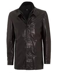 mens coat arimo regular fit black leather jacket