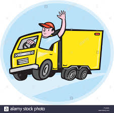 Delivery Truck Driver Waving Cartoon Stock Photo 103051261 Alamy
