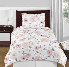 blush pink grey and white shabby chic watercolor fl girl twin kid childrens bedding comforter set by sweet jojo designs 4 pieces rose flower only