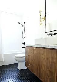 black hex tile bathroom grout shower floor