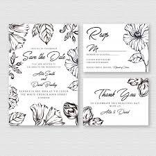 Black And White Invitation Paper Watercolor Floral Black And White Wedding Invitation Card