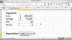 How To Calculate Depreciation In Excel Lynda Com Tutorial