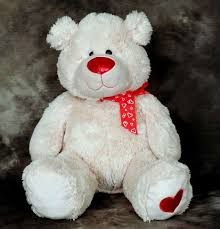 white teddy bears with hearts and roses.  White Luvs The White Teddy Bear With Red Bow And Heart On Foot In White Teddy Bears With Hearts And Roses B
