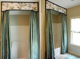 entrancing splitting shower curtains with valance and beautiful wall paint decor