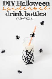 DIY Video Tutorial How to Make Halloween Glitter Spiderweb Party Drink  Bottles