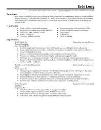 Restaurant Resume Samples Skills Examples With Education Server