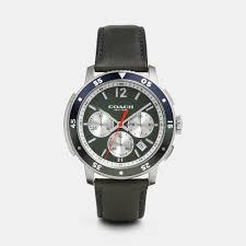 coach bleecker sport stainless steel chrono strap watch in green gallery