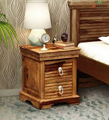 barzisn solid wood bed side table with