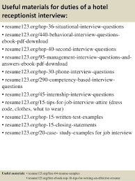 12 useful materials for duties of a hotel receptionist hotel receptionist resume sample
