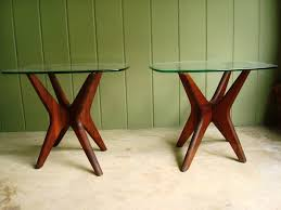 image of mid century wood and glass coffee table