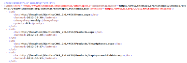xml output of the google sitemap generated for a kentico
