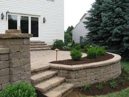 Retaining Wall Seating Paver Patios With Lighting Raised Patio Seat Wall Landscape