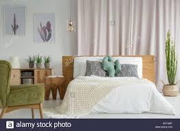Grün Vintage Sessel Im Schlafzimmer Mit Kakteen Rustikale Möbel Und