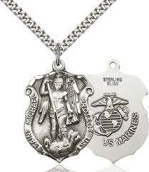 sterling silver st michael pendant necklace protect our marines made in the usa