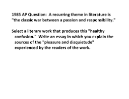 the crucible ap prompt essay assignment respond to one of the 1985 ap question a recurring theme in literature is the classic war