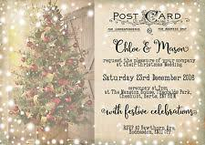 christmas wedding invitations ebay Wedding Invitations Christmas personalised vintage postcard christmas tree snowy wedding invitations packsof10 wedding invitations christian