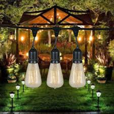 Edison Outdoor Patio Lights 48 Foot S14 Edison Outdoor String Lights Suspended Socket
