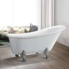 acrylic clawfoot freestanding bathtub in white