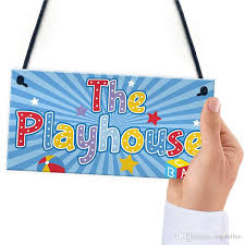 child s playhouse hanging plaque gift for daughter son kids room playroom bedroom girls boys door wall fun sign