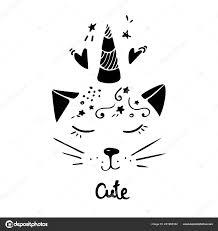 Gatto Di Illustrazione Vettoriale Carino Con Disegnato A Mano Di
