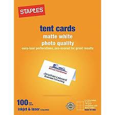 Staples 14634 Cc Laser Inkjet Tent Cards Matte White 100 Pack