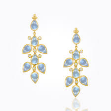 18k small drop chandelier earrings with royal blue moonstone and diamond