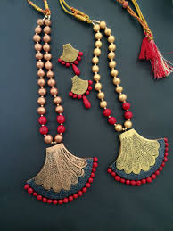 Funky Necklace Designs Golden And Red Terracotta Set Terracotta Jewellery