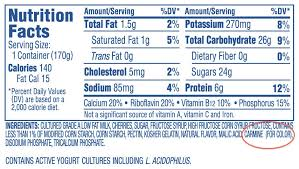 dannon fruit on the bottom nutritional facts