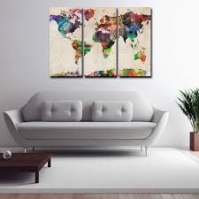 >framed canvas prints colorful world map wall art canvas painting  framed canvas prints colorful world map wall art canvas painting home decor 3pcs