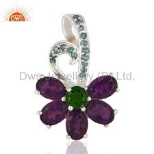 natural amethyst blue topaz and chrome diopside pendant in 925 sterling silver