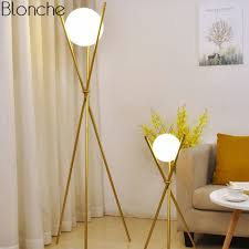 <b>Modern</b> Glass Ball Gold <b>Floor Lamp</b> Tripod Standing Lamps <b>Metal</b> ...