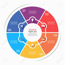 6 Piece Pie Chart Template Flat Style Pie Chart Circle Infographic Template With 6 Options