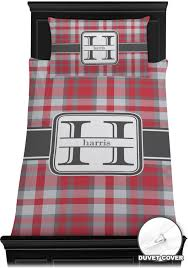 red gray plaid duvet cover set personalized