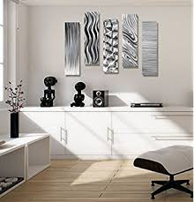 statements2000 silver metal wall art decor 5 piece set of contemporary wall art by jon on black metal wall art amazon with amazon statements2000 silver black metal wall art panel modern
