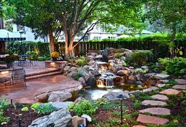 feature lighting ideas. Backyard Pond Pictures For Your Landscape: With  Brick Patio And Outdoor Lighting Feature Lighting Ideas U