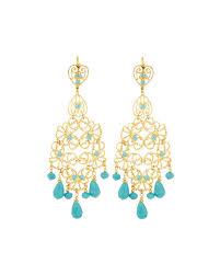 jose maria barrera golden filigree chandelier earrings w turquoise hue beads