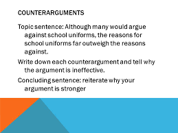 persuasive paper planner and essay format the importance of  counterarguments topic sentence although many would argue against school uniforms the reasons for school