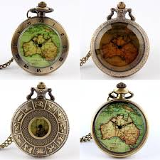 womens mens quartz pocket watch vintage watch necklace gift retro australia map pendant clock on chain drop automatic watch pocket watches from
