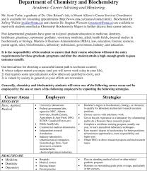 Department Of Chemistry And Biochemistry Academic Career Advising