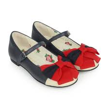 gucci girls navy blue leather shoes