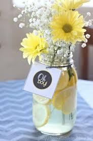 Decorating Mason Jars For Baby Shower Gray Yellow Baby Shower Decorating Ideas Love of Family Home 41
