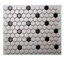 black and white hexagon tile floor. Shop American Olean Satinglo Hex White/Black Ceramic Mosaic Floor Tile (Common: X Actual: At Lowes. Black And White Hexagon
