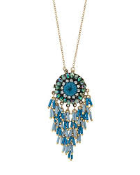 tabata blue beaded tassel pendant necklace