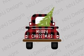 Old vintage truck with christmas trees svg cutting file. Buffalo Plaid Christmas Truck With Tree Graphic By Nnj Designs Creative Fabrica