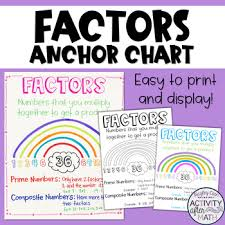 Factors Prime And Composite Numbers Anchor Chart