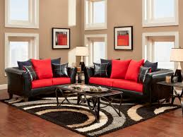 Living Room Small Beautiful Ideas With Leather Sofa In Black And Red With Red  Black Cushion On Brown Fur Rug