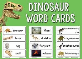 Dinosaur Picture Word Cards Prekinders