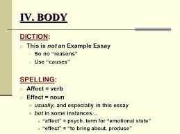 causes and effects part the essay ppt body diction spelling this is not an example essay affect verb